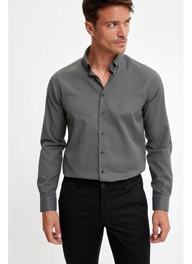 DeFacto Modern Fit Uzun Kollu Basic Gömlek Yeşil